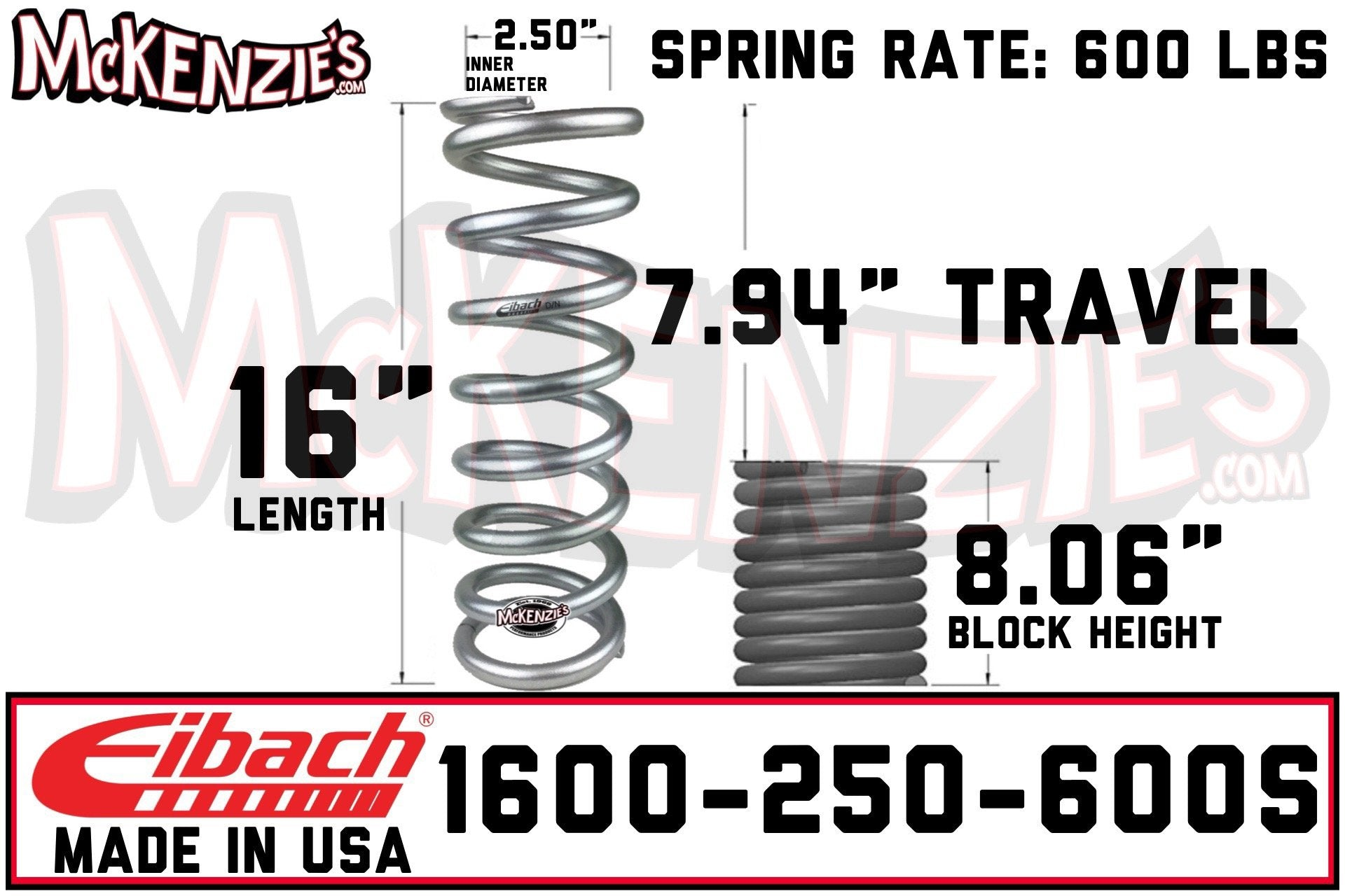 ID Coil-Over Spring Eibach 1400.250.0350S ERS 14.00 in Length x 2.50 in