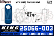 "King 25066-003 | 2.5"" Shock Rod End w/Shaft Guard Groove"