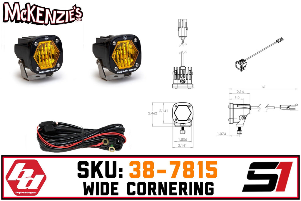 Baja Designs 38-7815 | S1 Wide Cornering | Amber LED
