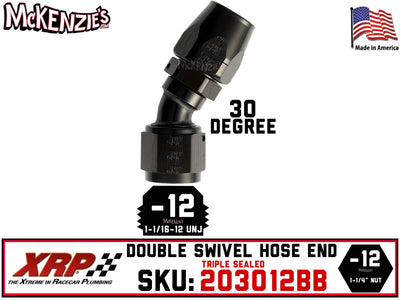 -12AN 30˚ Triple Sealed Hose End | Double-Swivel | XRP 203012BB