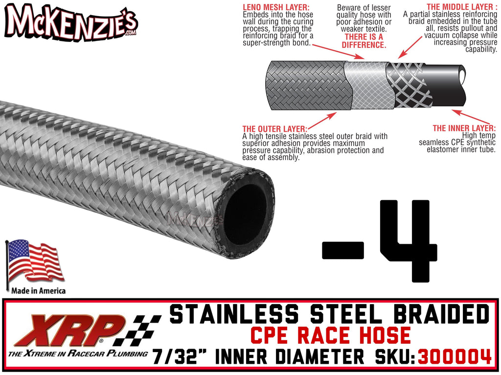 "-4 Stainless Steel Braided CPE Race Hose | .219"" ID - .438"" OD 