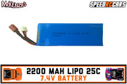 Speed RC Cars | 7.4V 2200mAh 25C Lipo Battery T Plug