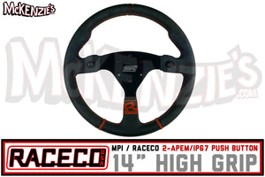 "Raceco USA 14"" Flat High Grip w/Push Buttons 