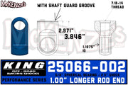 "King 25066-002 | 2.5"" Shock Rod End w/Shaft Guard Groove"
