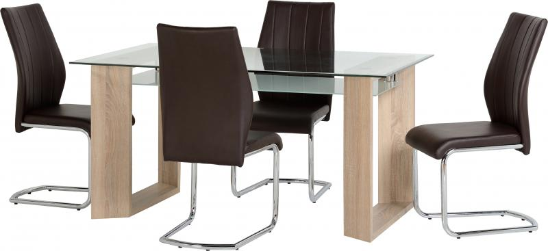 Fabulous Milan Dining Table And 4 Chairs In Clear Glass Frosted Glass Sonoma Oak Effect Veneer Brown Faux Leather Chrome Creativecarmelina Interior Chair Design Creativecarmelinacom