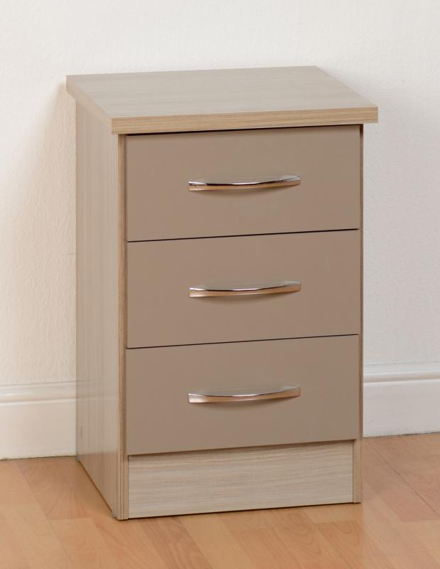 Light Grey Bedside Table: Nevada 3 Drawer Bedside Chest In Oyster Gloss/Grey Gloss