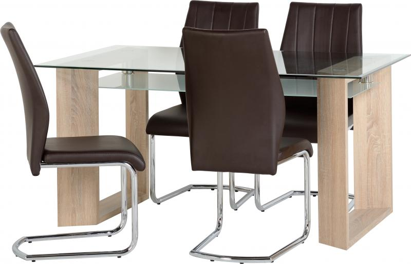 Milan Dining Table and 4 Chairs in Clear Glass/Frosted ...