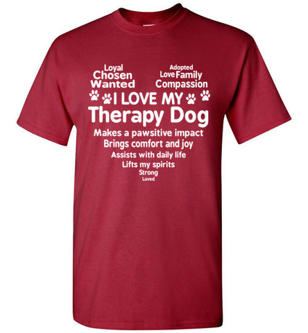 I Love My Therapy Dog Heart T Shirt