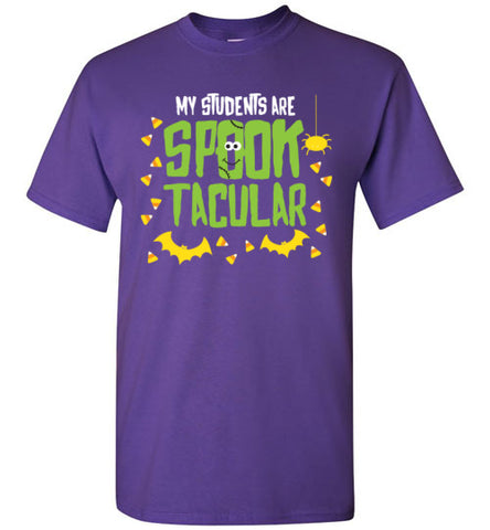 Halloween Teacher My Students Are Spook-tacular Purple T Shirt