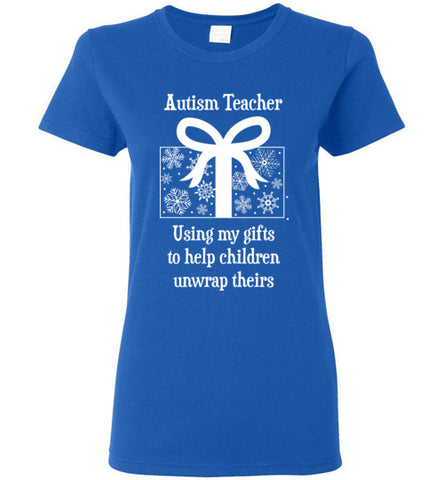 Autism Teacher Christmas Winter Holiday Ladies T Shirt