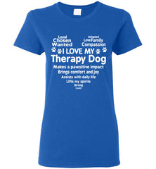 I Love My Therapy Dog Heart Women's T Shirt