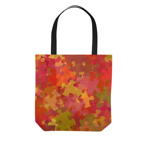 Red Autism Puzzle Collage Tote Bag