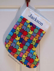 Puzzle Autism Awareness Personalized Christmas Holiday Stockings Gift