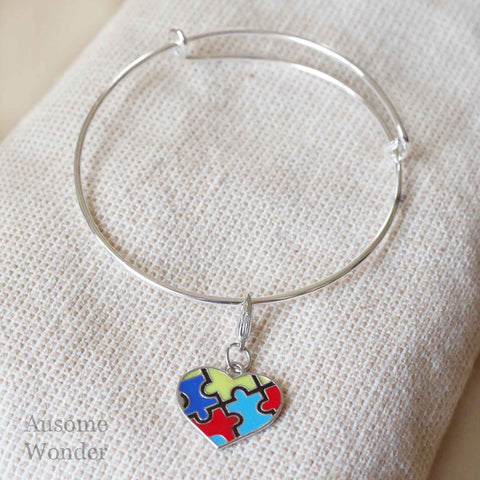 Autism Puzzle Heart - Stainless Steel Bangle Bracelet Holiday Fun