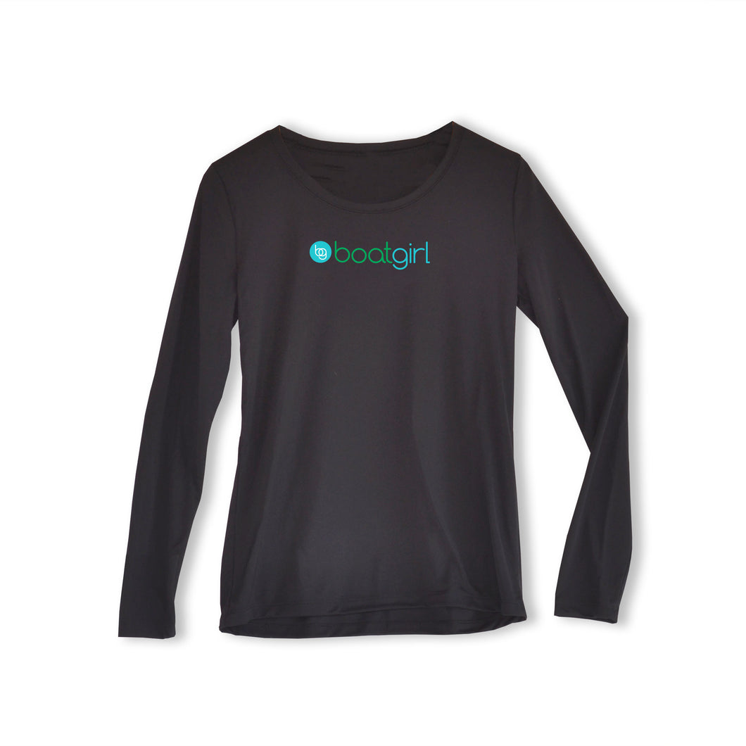 Boatgirl Boat Girl Long Sleeve Crew Neck Performance Shirt Black