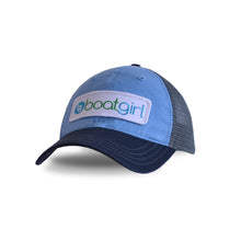 Boatgirl Boat Girl Garment Washed Trucker Hat - Sky Blue/Charcoal