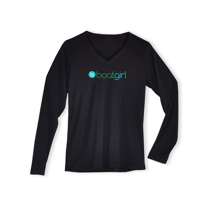 Boatgirl Boat Girl Long Sleeve V Neck Performance Shirt Black