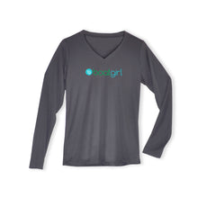 Boatgirl Boat Girl Long Sleeve V Neck Performance Shirt Charcoal