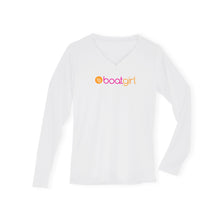 Boatgirl Boat Girl Long Sleeve V Neck Performance Shirt White