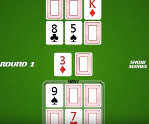 (Above shows the set up of a traditional Six Card Golf game)