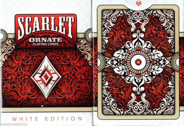 Ornate White Scarlet Playing Cards Deck USPCC:PlayingCardDecks.com