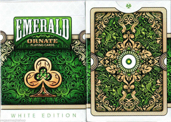 Ornate White Emerald Playing Cards Deck USPCC:PlayingCardDecks.com