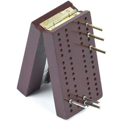 Travel Pocket Size Wooden Cribbage Board with Metal Pegs