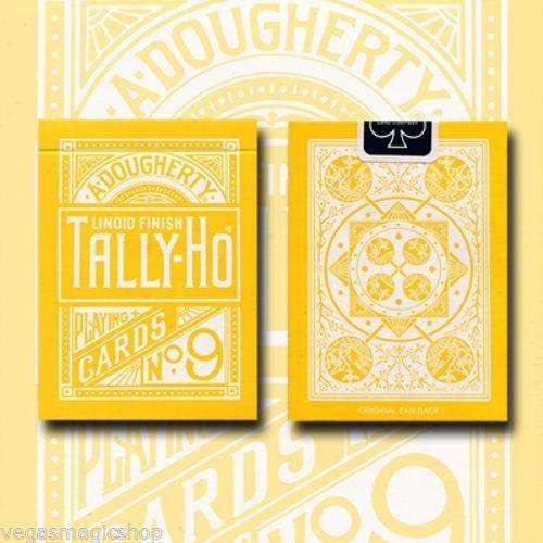 Reverse Fan Yellow Back Tally-Ho Playing Cards Deck:PlayingCardDecks.com