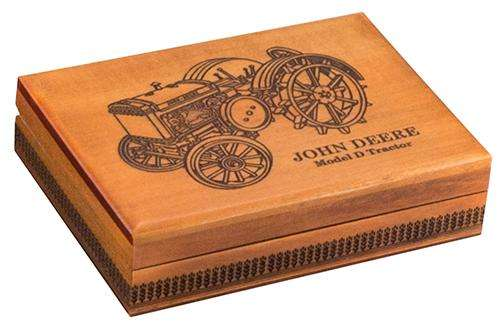 John Deere Vintage Tractor Model D Wooden Box - Holds 2 Decks of Playing Cards:PlayingCardDecks.com