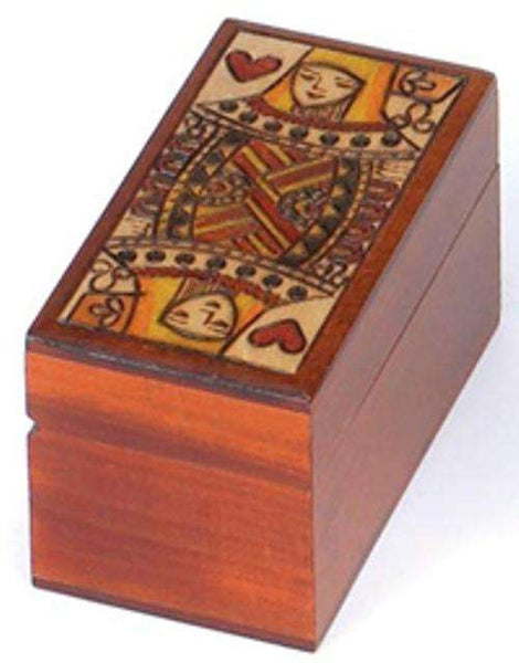 Queen of Hearts Wooden Box - Holds 2 Decks of Playing Cards:PlayingCardDecks.com