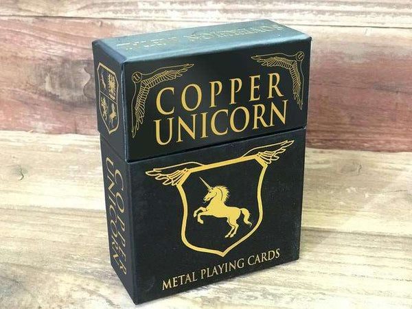 Copper Unicorn Metal Playing Cards tuck Case