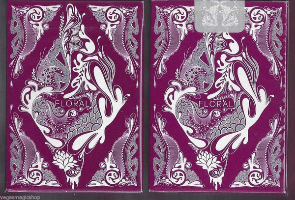 Floral Purple Playing Cards Deck - PlayingCardDecks.com