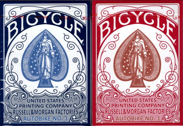 Autobike No. 1 Bicycle Playing Cards - Blue & Red - PlayingCardDecks.com