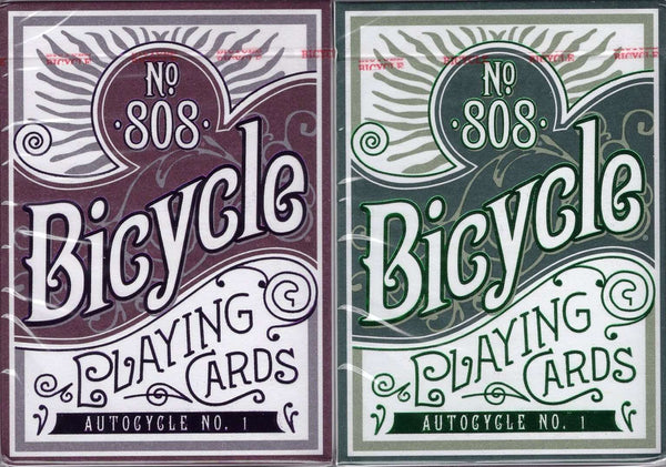 AUTOCYCLE NO.1 Bicycle Playing Cards - Purple & Green in Collectors Tin - PlayingCardDecks.com