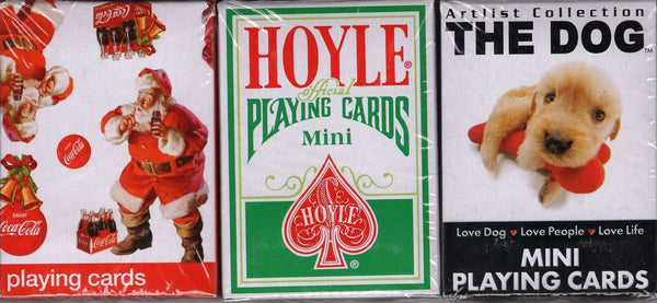 Hoyle Dog Coke 3 Deck Set Mini Holiday Playing Cards USPCC