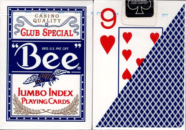 'Bee' Jumbo Index Blue Playing Cards - PlayingCardDecks.com