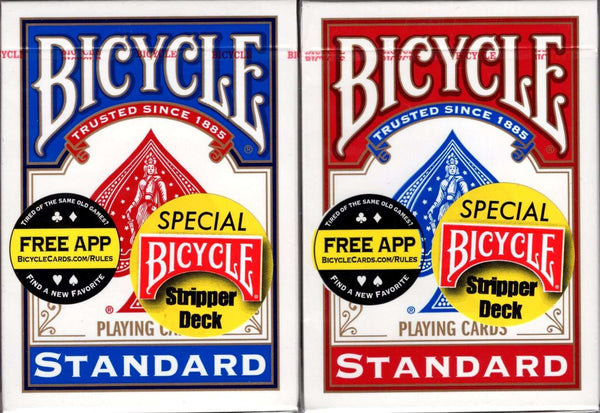 Bicycle Stripper Deck Playing Cards - Blue & Red - PlayingCardDecks.com