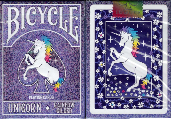Unicorn Rainbow Gilded Bicycle Playing Cards Tuck Case