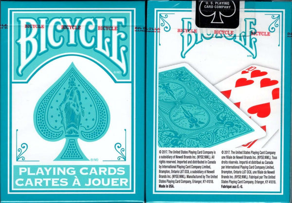 Fashion Teal & White Bicycle Playing Cards tuck box