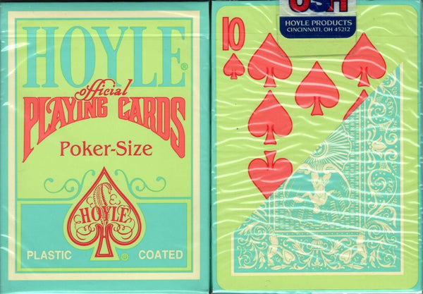 Hoyle Green Back Orange Pips Playing Cards