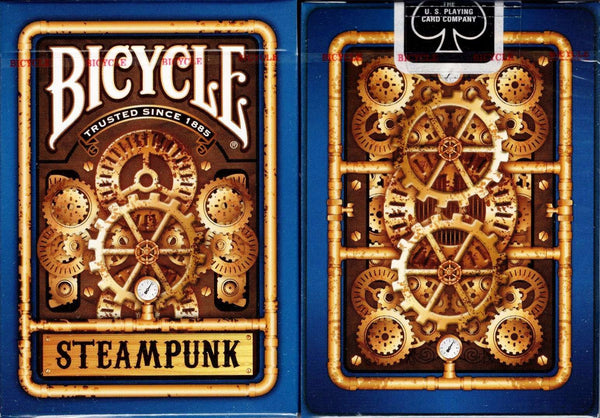 Steampunk Bicycle Playing Cards - Blue & Red: Blue
