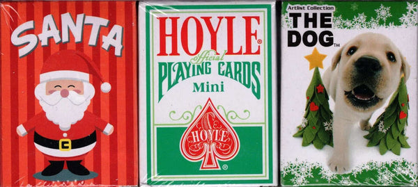 Hoyle Dog Santa 3 Deck Set Mini Holiday Playing Cards