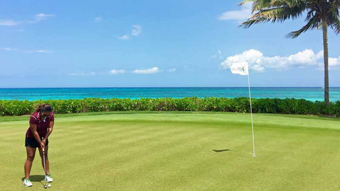 Putting with a view of Mayakoba Beach