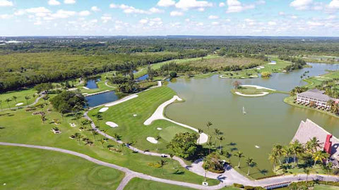 Drone shot from barcelo lakes golf course Punta Cana