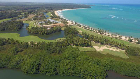 Aerial shot with Caribbean Tee Times drone of Bahia Beach