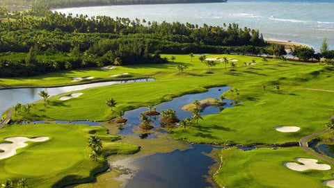 Coo Beach Championship Course back nine view from drone