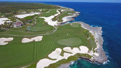 Aerial view of Corales Golf Course from Caribbean Tee Times Drone