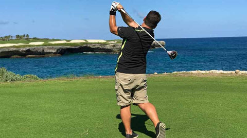 Golf Pro teeting up at Corales Golf Course