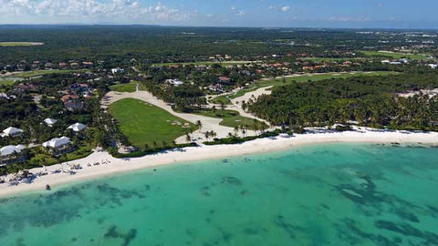 aerial shot from drone of La Cana Golf Course Punta Cana
