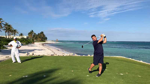 La Cana Tee Box with golf professional